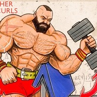 Dumbbell Preacher Hammer Curls with Street Fighter Zangief
