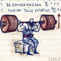 Workout, barbell box squats