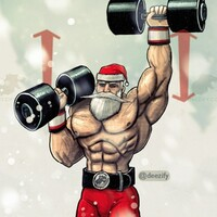 Standing dumbbell shoulder press with savage santa