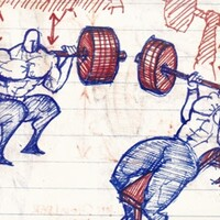 Barbell squats, barbell close grip bench press