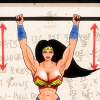 Barbell Shoulder Presses with Wonder Woman