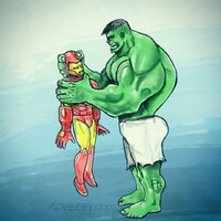 Hulk crushing Iron Man's head