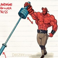 Landmine Shoulder Press with Hellboy