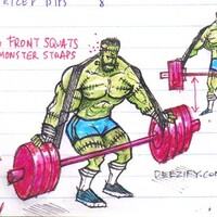 Frankenstein front squats with monster straps