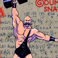 Dumbbell snatches demonstrated by a dastardly moustached carnie