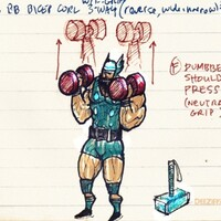 Dumbbell shoulder presses with Thor Lord of Thunder
